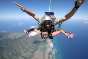 Mid flight shaka with Skydive Hawaii on the North Shore